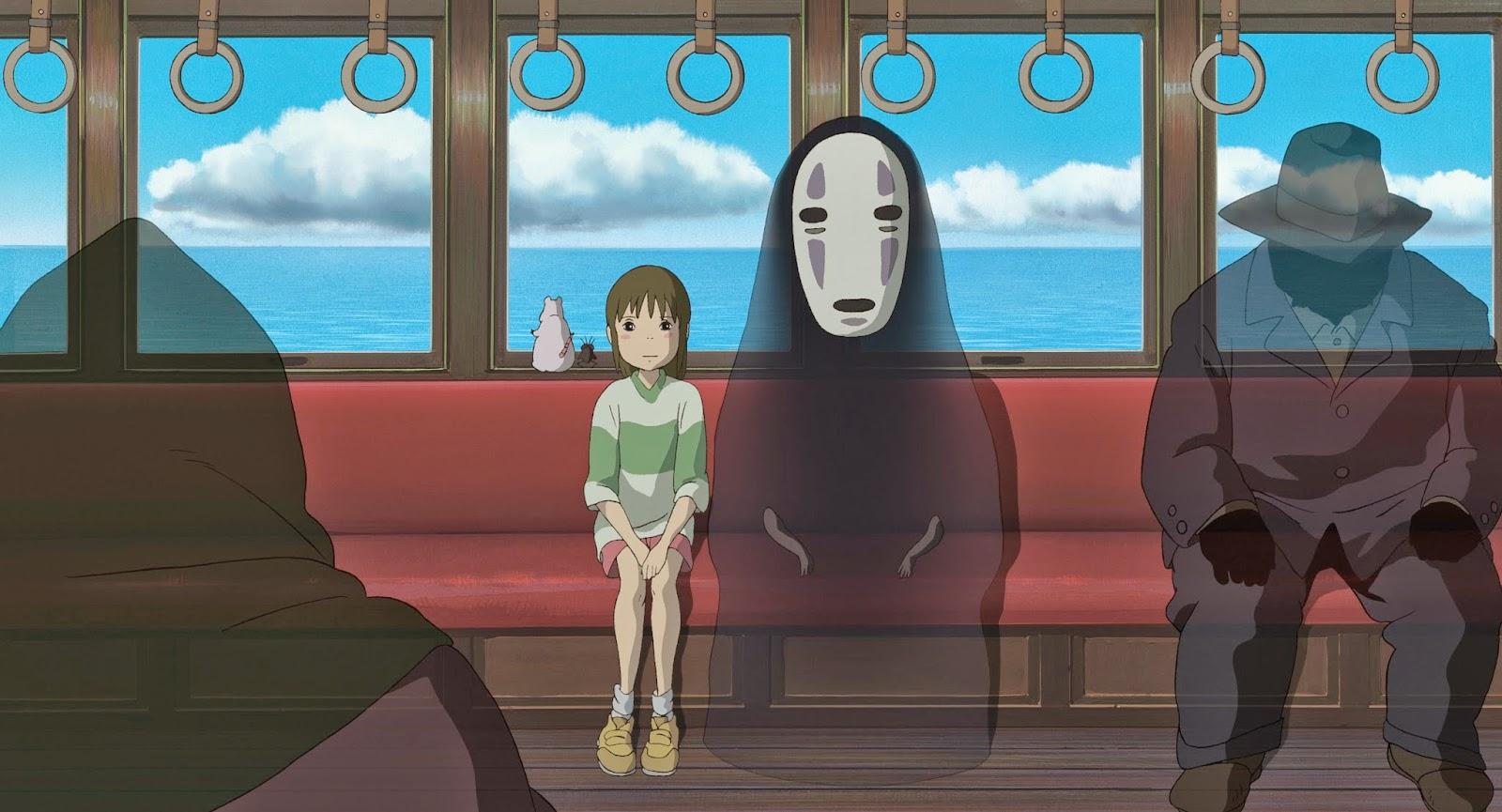 """Sen/Chihiro e Senza Volto in viaggio verso la casa di Zeniba. Fotogramma da """"La città incantata."""